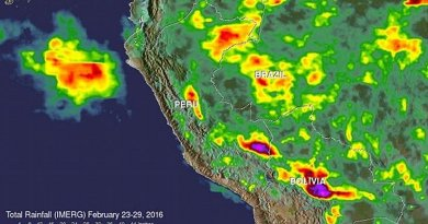 NASA's IMERG data collected from Feb. 23-29, 2016, were used to estimate rainfall totals over this area of South America. The highest rainfall total estimates for this period were over 700 mm (27.6 inches). These extreme rainfall total estimates were shown east of the Andes in southeastern Peru and Bolivia. Credit Credits: ASA/JAXA/SSAI, Hal Pierce