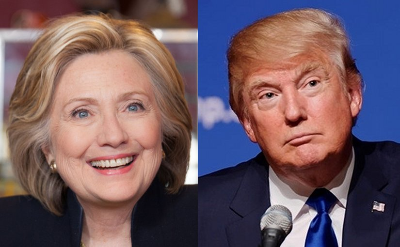 Hillary Clinton and Donald Trump. Photos Wikipedia Commons.