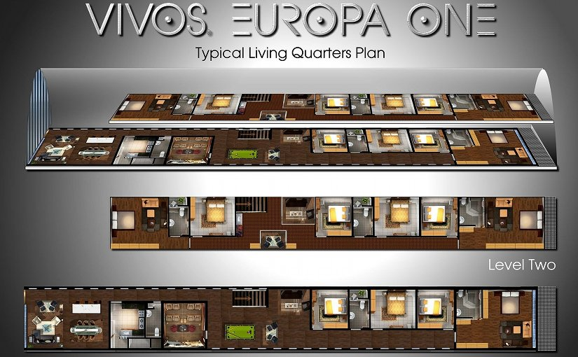 Multi-level plan of a typical 5,000 square foot private living quarters located in the Vivos Europa One survival shelter. Credit: Vivos Command, Wikimedia Commons.