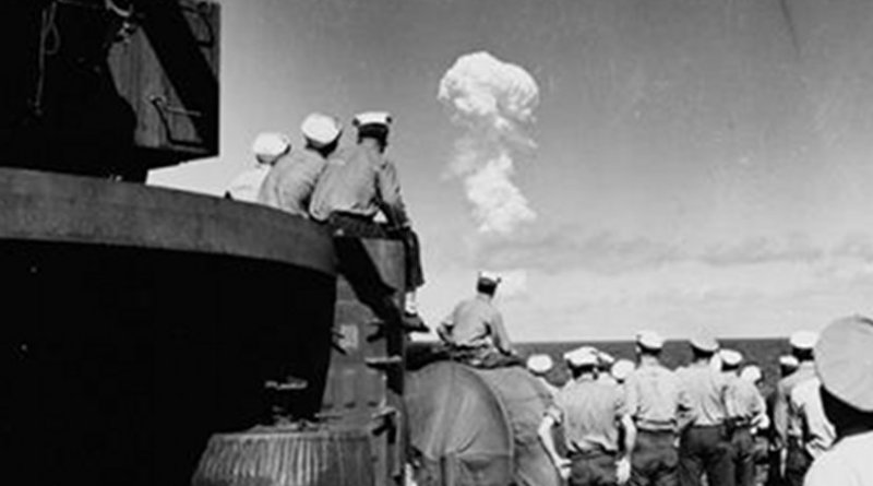 Sailors watched the Able Test burst miles out to sea from the deck of the support ship USS Fall River on July 1, 1946. Credit Naval History and Heritage Command