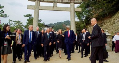 Hiroshima Mayor Kazumi Matsui leads Japanese Foreign Minister Fumio Kishida, U.S. Secretary of State John Kerry, U.S. Ambassador to Japan Caroline Kennedy, and other officials on April 10, 2016, during a walking tour of the Itsukishima Shrine on Miyajima Island off Hiroshima, Japan, following the first round of discussions in the G7 Ministerial Meetings. [State Department Photo/Public Domain]