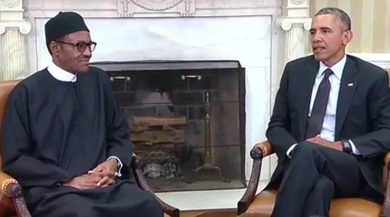 Nigeria's President Muhammadu Buhari meets US President Barack Obama in White House. Source: Screenshot from White House video.