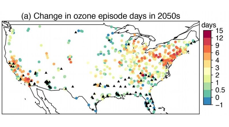 These are mean changes from 2000-2009 to 2050-2059 in ozone episode days due to climate change in the RCP4.5 scenario, as calculated using statistically downscaled projections of daily maximum temperatures from 19 CMIP5 models. Credit Lu Shen/Harvard University