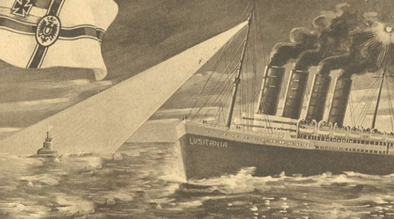 German postcard depicting the sinking of the Lusitania. Source: Wikipedia Commons.