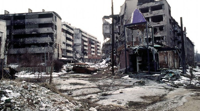 View of Grbavica, a neighbourhood of Sarajevo, approximately 4 months after the signing of the Dayton Peace Accord that officially ended the war in Bosnia. Source: Public Domain (PD-USGov-Military)