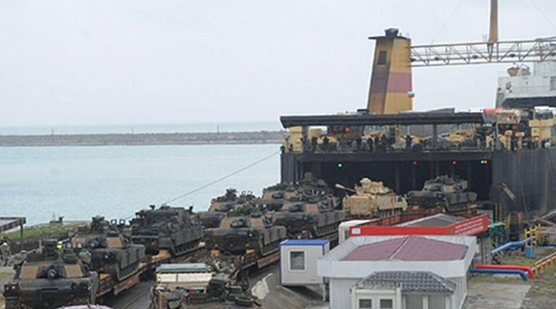 U.S. army's M1A2 Abrams main battle tanks and Bradley infantry fighting vehicles being unloaded from ferry in the port of Poti, May 4, 2016