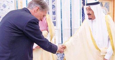 Saudi Arabia's King Salman receives British Foreign Secretary Philip Hammond in Jeddah, Saudi Arabia. Photo Credit: SPA