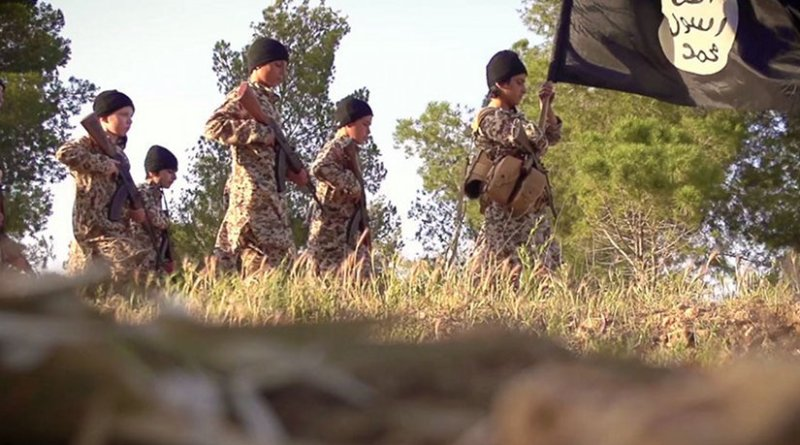 Screenshot from Islamic State propaganda video of child soldiers.