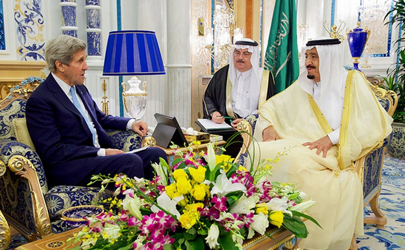 U.S. Secretary of State John Kerry sits with King Salman of Saudi Arabia on May 15, 2016, at the Royal Court in Jeddah, Saudi Arabia, before a bilateral meeting and a later conversation with Crown Prince Muhammad bin Nayef. [State Department photo/ Public Domain]