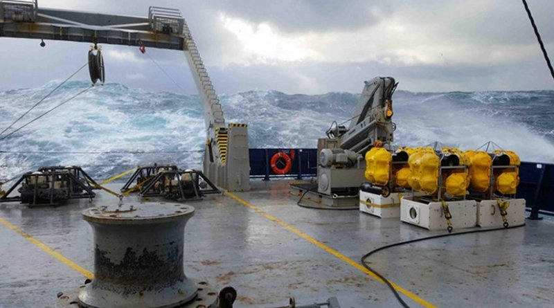 Seafloor absolute pressure gauges lashed to the deck of the R/V Roger Revelle. It's important to strap down the instruments, especially during high seas, such as those sometimes found offshore of Gisborne, New Zealand. Credit Justin Ball, University of Colorado