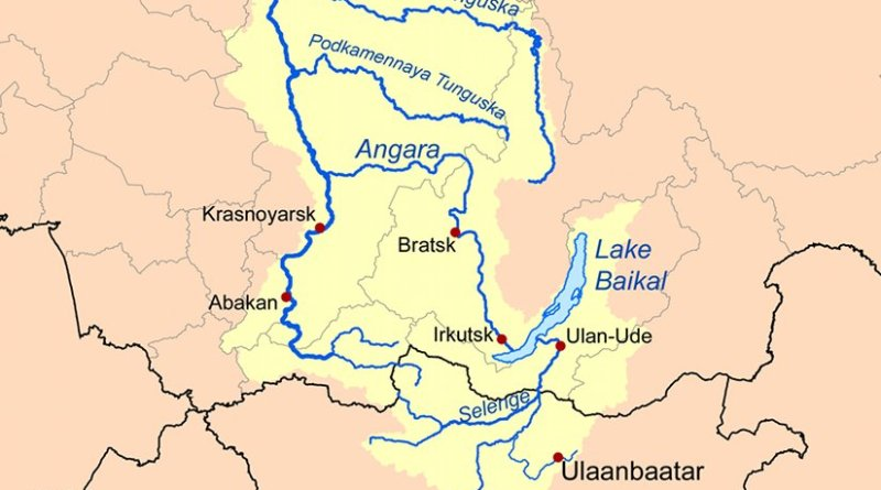 The Yenisei River basin, which includes Lake Baikal. Graphic by Kmusser, Wikipedia Commons.