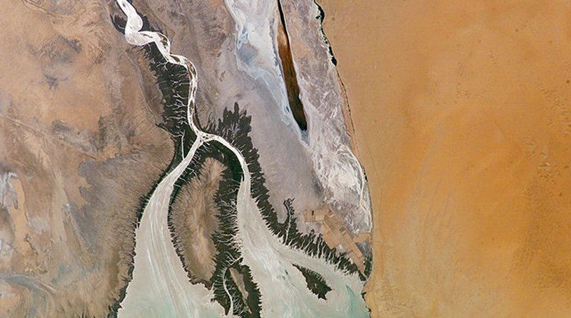 Colorado River Delta. Photo Credit: NASA and Earth Observations Laboratory, Johnson Space Center, Wikipedia Commons.