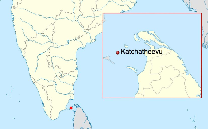 Location of Katchatheevu, administered by Sri Lanka and disputed by India.