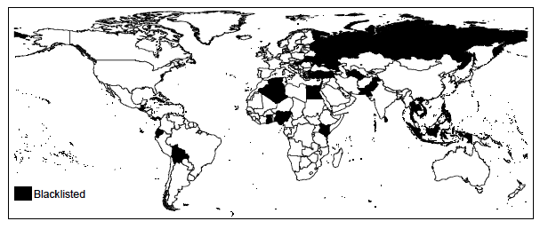 Figure 1 Blacklisted countries