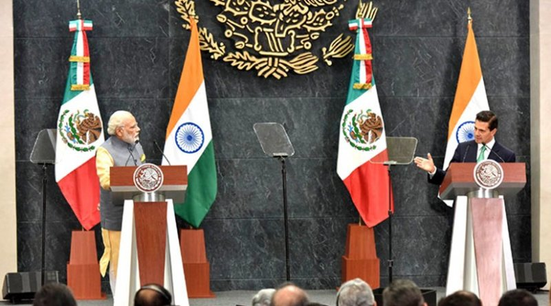 The Prime Minister, Shri Narendra Modi in joint media briefing with the President of Mexico, Mr. Enrique Peaa Nieto at the official residence of Los Pinos, Mexico on June 08, 2016.. Source: India PM Office