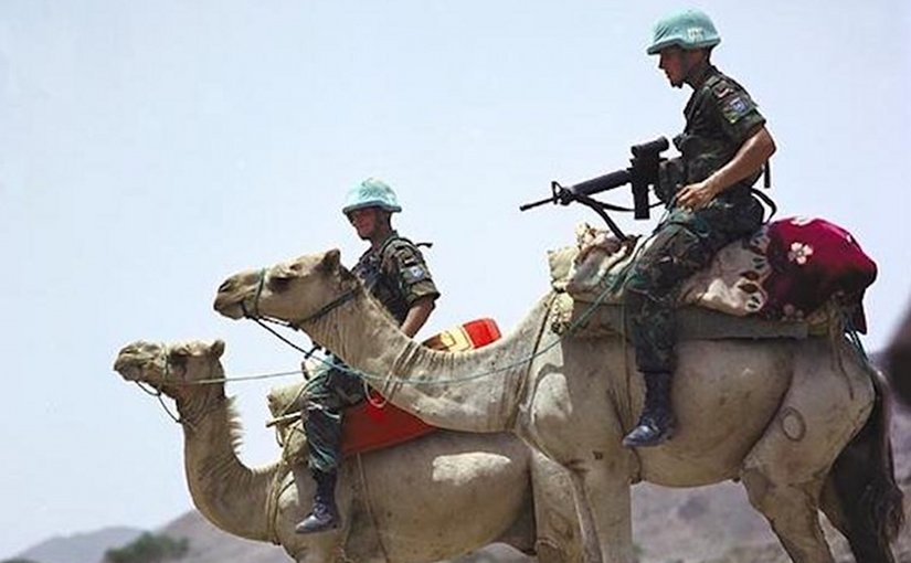 United Nations soldiers, part of United Nations Mission in Ethiopia and Eritrea (UNMEE), monitoring Eritrea-Ethiopia boundary in 2005. Credit: Wikimedia Commons.