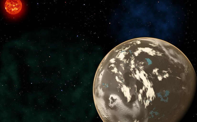 In this artist's conception, a carbon planet orbits a sunlike star in the early universe. Young planetary systems lacking heavy chemical elements but relatively rich in carbon could form worlds made of graphite, carbides and diamond rather than Earth-like silicate rocks. Blue patches show where water has pooled on the planet's surface, forming potential habitats for alien life. Credit Christine Pulliam (CfA). Sun image: NASA/SDO