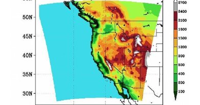 The elevation of areas of the American West that were part of recent climate modeling as part of the Weather@Home Program. Credit (Graphic courtesy of Oregon State University)