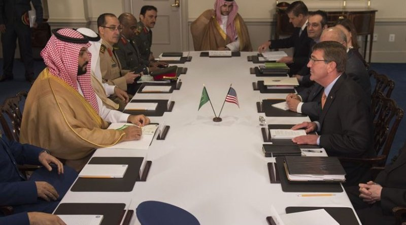 Defense Secretary Ash Carter meets with Deputy Crown Prince and Minister of Defense Mohammed bin Salman of Saudi Arabia at the Pentagon June 16, 2016. The two leaders met to discuss matters of mutual importance. DoD photo by Senior Master Sgt. Adrian Cadiz