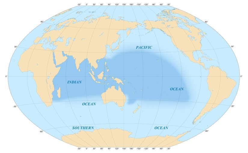 Area covered by the Indo-Pacific biogeographic region. Graphic by Eric Gaba, Wikipedia Commons.