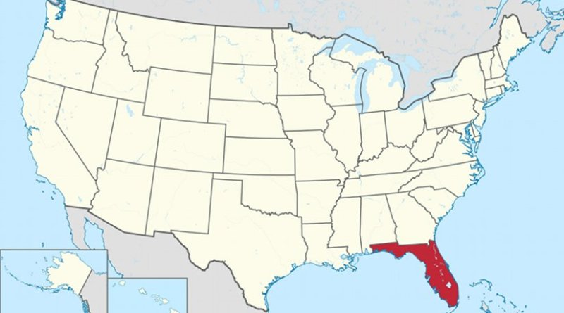 Location of Florida. Source: Wikipedia Commons.