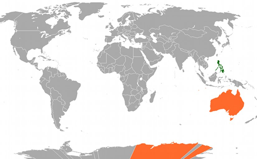 Locations of the Philippines and Australia. Source: Wikipedia Commons
