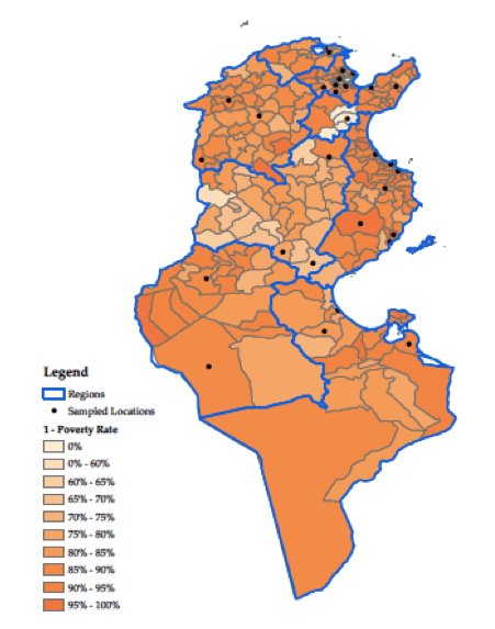 b. District wealth: 1 minus the poverty rate Notes: The dots indicate our survey sites. Source: Census of Tunisia 2005 and Instance Supérieure Indépendente pour les Elections 2011