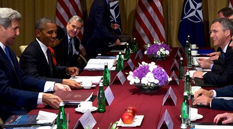President Barack Obama meets with NATO Secretary-General Jens Stoltenberg and other officials at the NATO Summit in Warsaw, Poland, July 9, 2016. NATO photo