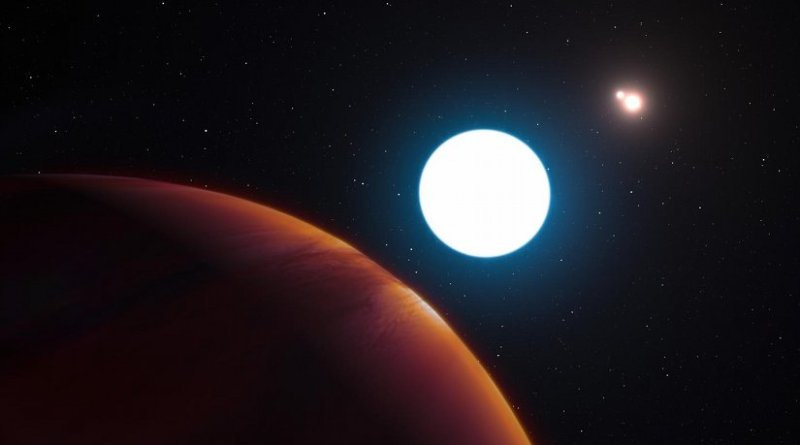 This artist's impression shows a view of the triple star system HD 131399 from close to the giant planet orbiting in the system. The planet is known as HD 131399Ab and appears at the lower-left of the picture. Located about 340 light years from Earth in the constellation of Centaurus (The Centaur), HD 131399Ab is about 16 million years old, making it also one of the youngest exoplanets discovered to date, and one of very few directly imaged planets. With a temperature of around 580 degrees Celsius and having an estimated mass of four Jupiter masses, it is also one of the coldest and least massive directly imaged exoplanets. Credit ESO/L. Calçada