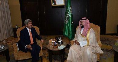 US Secretary of State John Kerry and Saudi Arabia's Deputy Crown Prince Mohammed bin Salman. Photo US State Department.
