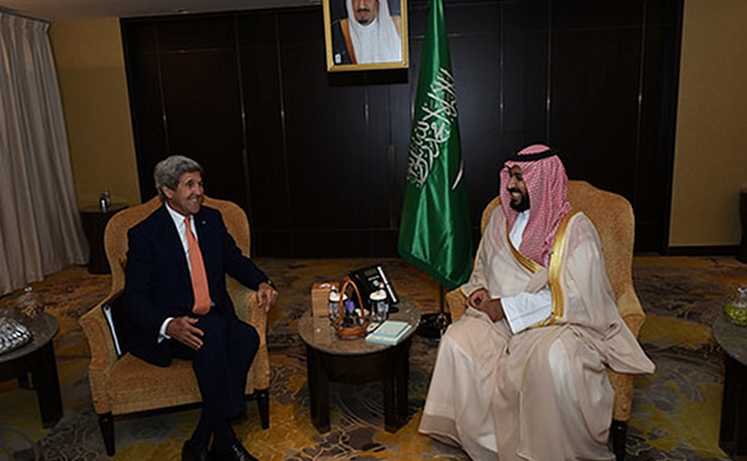 US Secretary of State John Kerry and Saudi Arabia's Deputy Crown Prince Mohammed bin Salman. Photo US State Department.