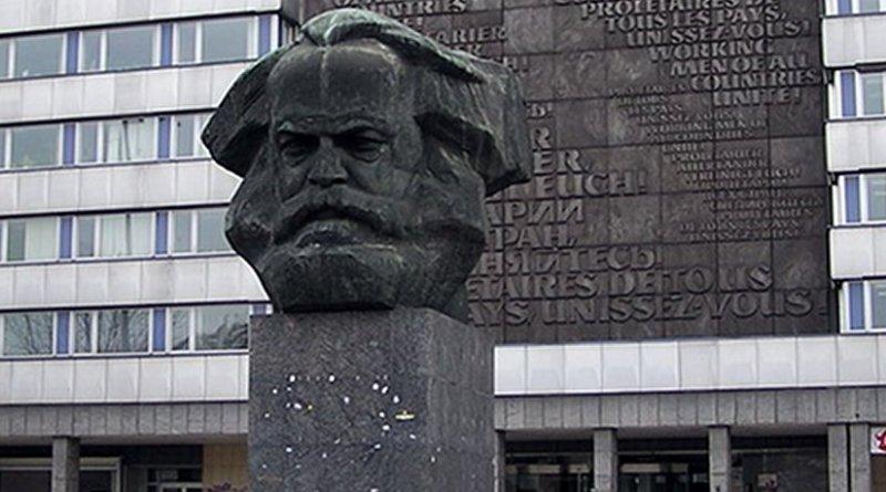 GDR-era Karl Marx monument in Chemnitz (renamed Karl-Marx-Stadt from 1953 to 1990). Photo by RobbyBer, Wikipedia Commons.