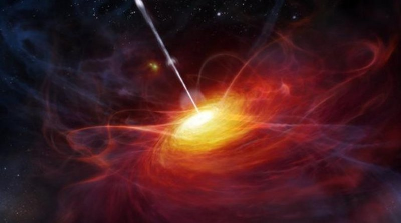 This is an artist's rendering of a very distant quasar courtesy of ESO/M. Kornmesser. Credit ESO/M. Kornmesser.