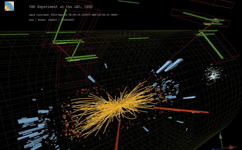 Real CMS proton-proton collisions events in which 2 high energy electrons and two high energy muons are observed. Credit Taylor L; McCauley T/CERN