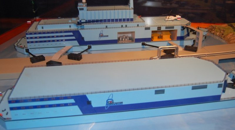 Model of a proposed Russian floating nuclear plant. Source: Wikipedia Commons.