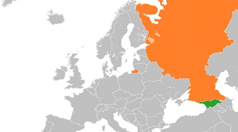 Locations of Georgia (green) and Russia. Source: Wikipedia Commons.