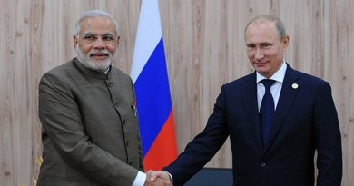 Russia's Vladimir Putin shakes hand with India's Narendra Modi. Photo Credit: Kremlin.ru, Wikipedia Commons.
