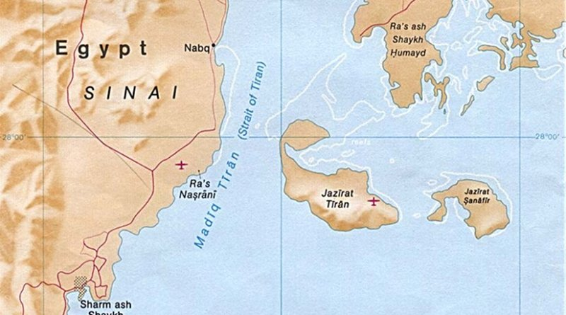 Locations of Red Sea islands Tiran and Sanafir that are disputed by Egypt and Saudi Arabia. Source: CIA World Factbook.