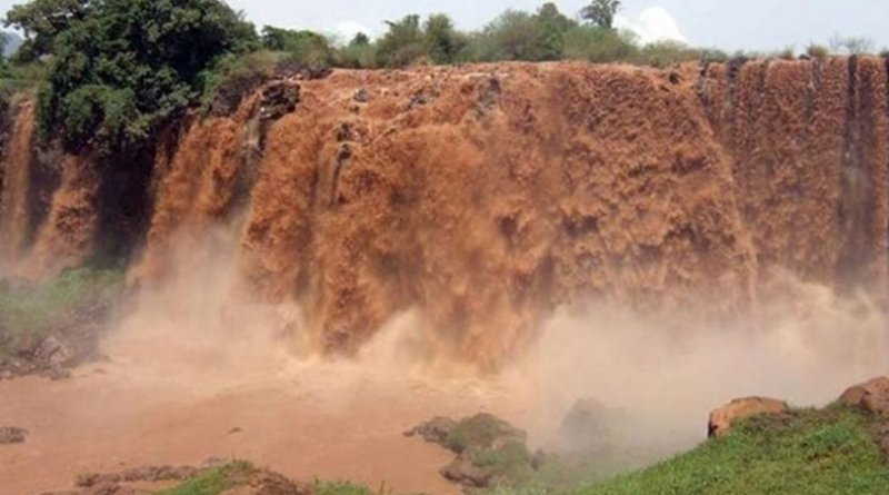 Water gushes over falls in the Blue Nile River Basin in Ethiopia. Virginia Tech researchers recently found that the region may benefit from increased water availability due to climate change. Credit Zach Easton