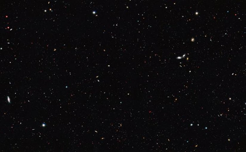 Among other data, scientists used the galaxies visible in the Great Observatories Origins Deep Survey (GOODS) to recalculate the total number of galaxies in the observable Universe. The image was taken by the NASA/ESA Hubble Space Telescope and covers a portion of the southern field of GOODS. This is a large galaxy census, a deep-sky study by several observatories to trace the formation and evolution of galaxies. Credit NASA, ESA/Hubble