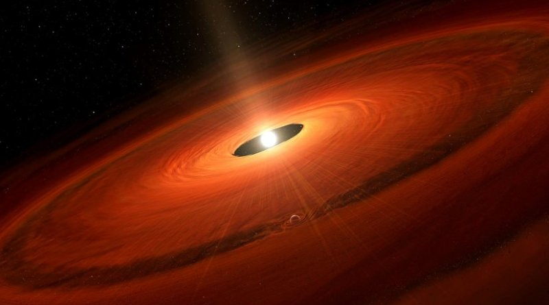 Artist's impression of the dust disk and a forming planet around TW Hydrae. Credit NAOJ