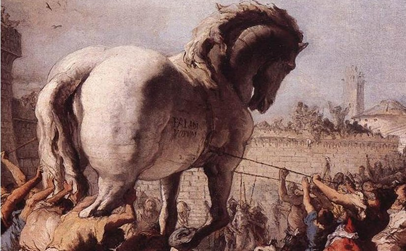 Detail from The Procession of the Trojan Horse in Troy by Domenico Tiepolo (1773), inspired by Virgil's Aeneid. Source: Wikipedia Commons.