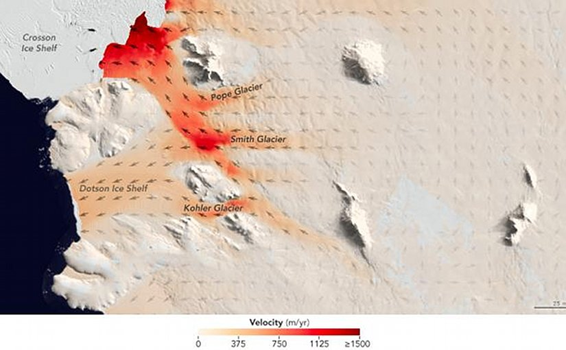 For a pair of recent studies, UCI and NASA JPL scientists examined three neighboring glaciers in West Antarctica that are melting and retreating at different rates. The Smith, Pope and Kohler glaciers flow into the Dotson and Crosson ice shelves in the Amundsen Sea embayment in West Antarctica, the part of the continent with the largest loss of ice mass. Credit NASA JPL