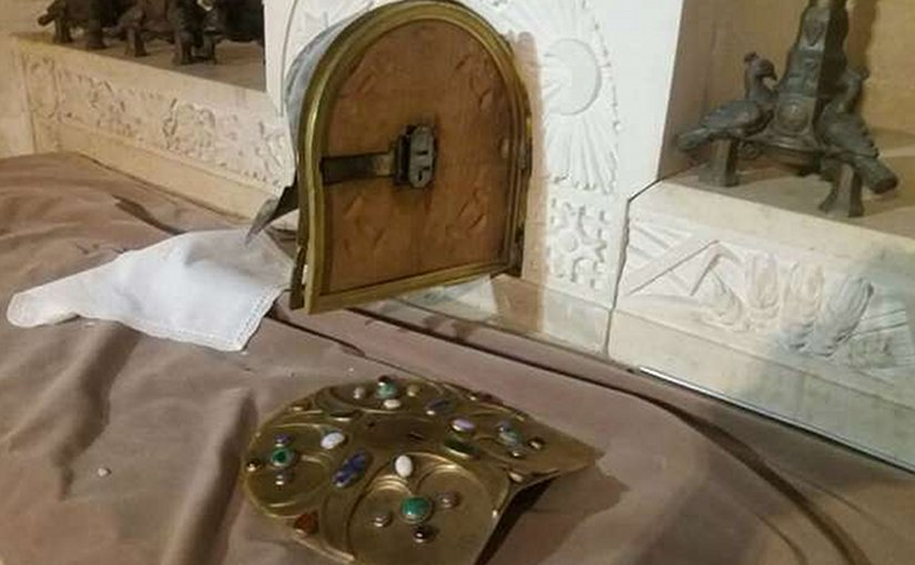 The tabernacle at the Church of the Transfiguration in Israel, destroyed by burglars Oct. 24, 2016. Photo courtesy of the Latin Patriarchate of Jerusalem.