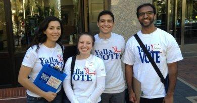 "Arab-American activists participating in the ""Yalla Vote"" campaign. Photo Credit: Arab American Institute."