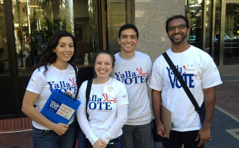 "Arab-American activists participating in the ""Yalla Vote"" campaign. Photo Credit: Arab American Institute."