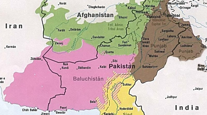 Balochistan region in pink. Source: CIA