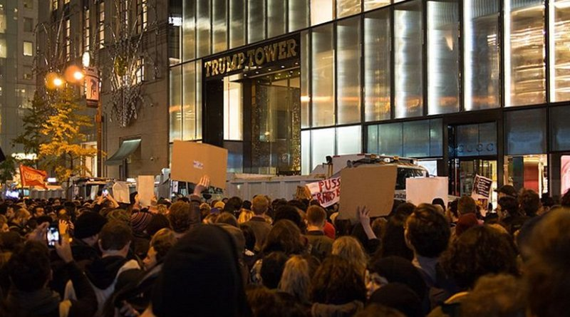 A large anti-Trump protest formed on November 9 spanning several blocks along Manhattan's 5th Avenue, centered on Trump Tower. Photo by Rhododendrites, Wikipedia Commons.