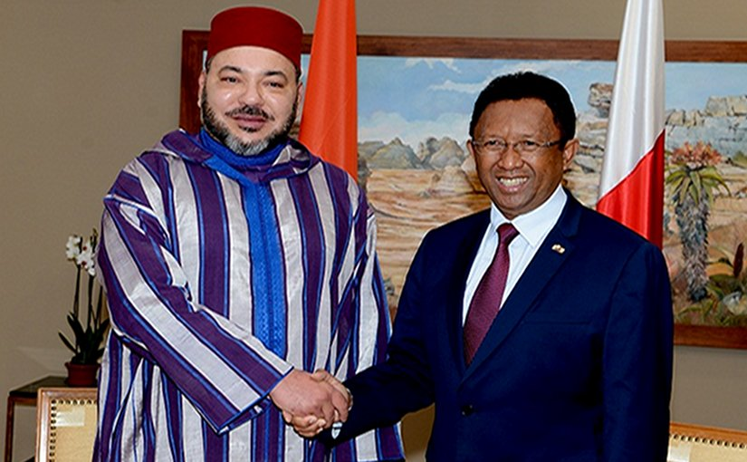 Morocco's King Mohammed VI with President of Republic of Madagascar, Hery Rajaonarimampianina