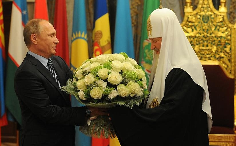 "Russian President Vladimir Putin congratulates Patriarch of Moscow and All Russia Kirill on his 70th birthday and awarded him the order ""For Services to the Fatherland,"" 1st Class. Photo Credit: Kremlin.ru"